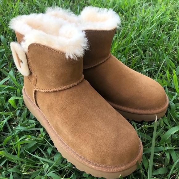 chestnut 5 Ugg Bailey fluff boots NWT mini Buckle CBerWxdo